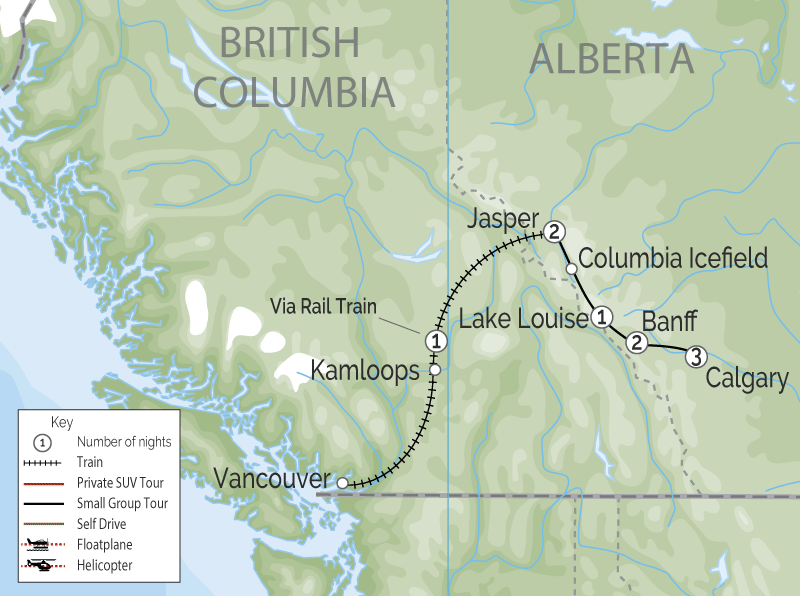 Calgary Stampede and the Canadian Rockies Train Tour map