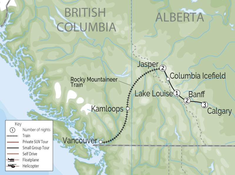 Calgary Stampede Train Trip through the Canadian Rockies map