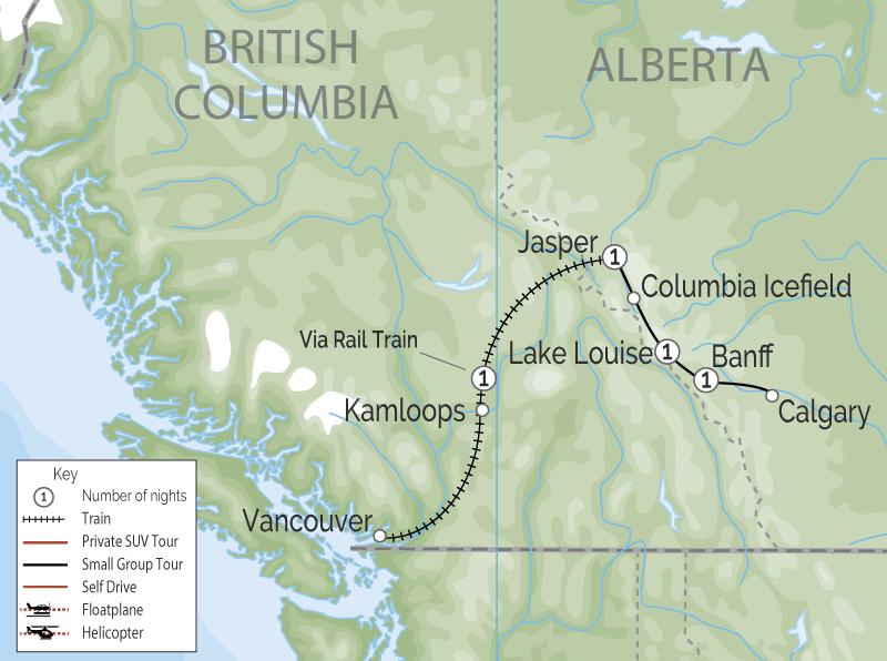 Canadian Rockies Icefield Discovery Train Tour | VIA Rail map