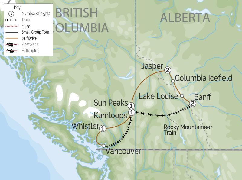 Canadian Rockies Scenic Delights by Road & Rail  map