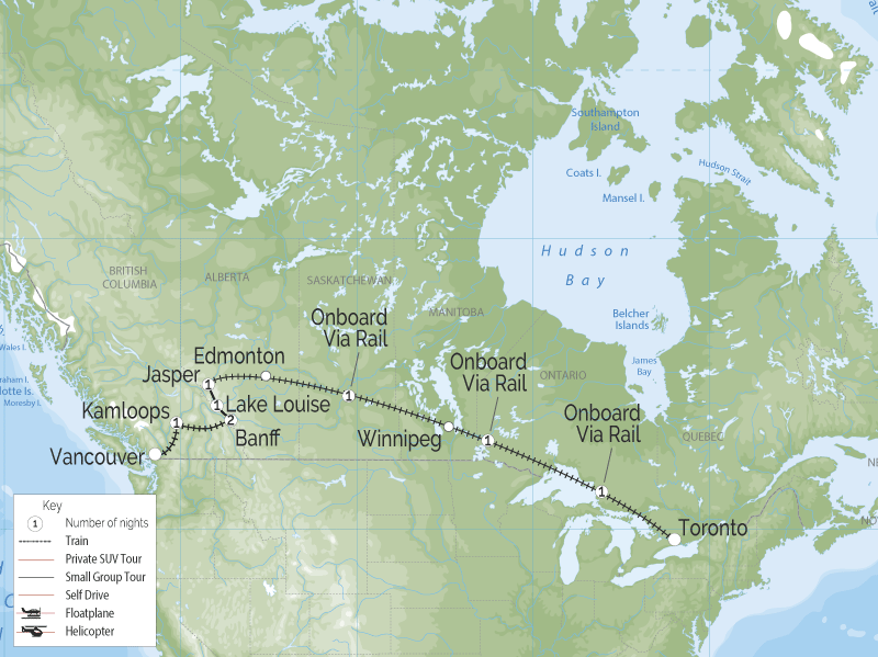Canadian Trails Train Trip Across Canada - Toronto to Vancouver map