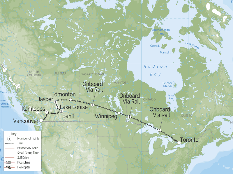 Canadian Trails Train Trip Across Canada | Vancouver to Toronto map