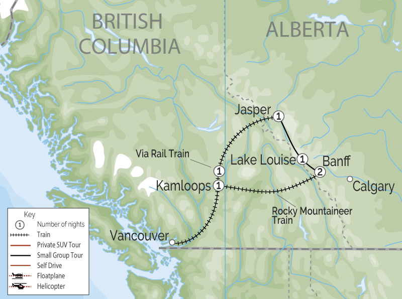 Circle Tour by Train through the Canadian Rockies | VIA Rail | Rocky Mountaineer map