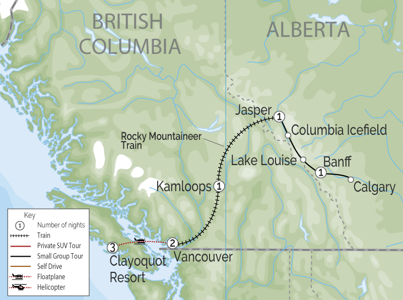 Clayoquot Wilderness Lodge | Canadian Rockies Train Trip Combo map