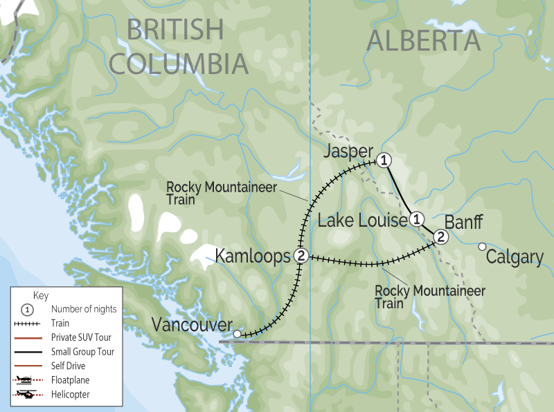 Grand Canadian Rockies Train Circle Tour | Rocky Mountaineer map