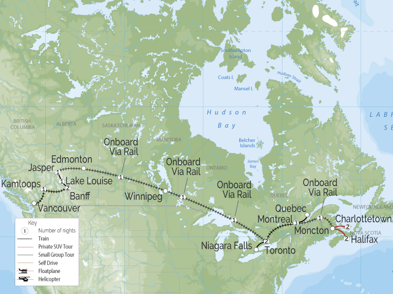 Grand Canadian Train Tour | Vancouver to Halifax map