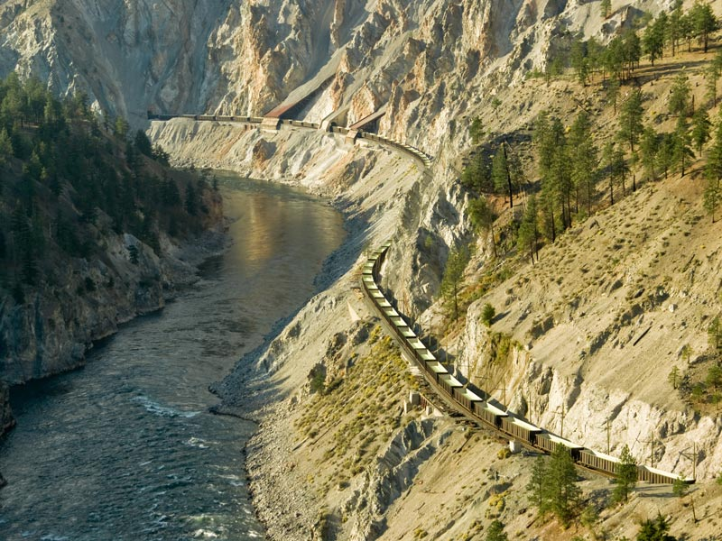 Grizzly Bears & the Canadian Rockies Train Vacation   Train traveling throughFraser Canyon