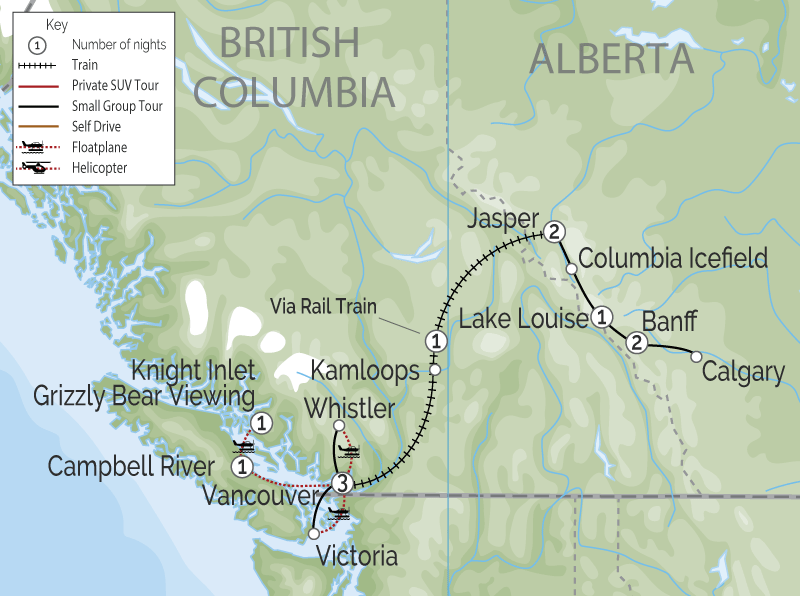 Grizzly Bears & the Canadian Rockies Train Vacation map
