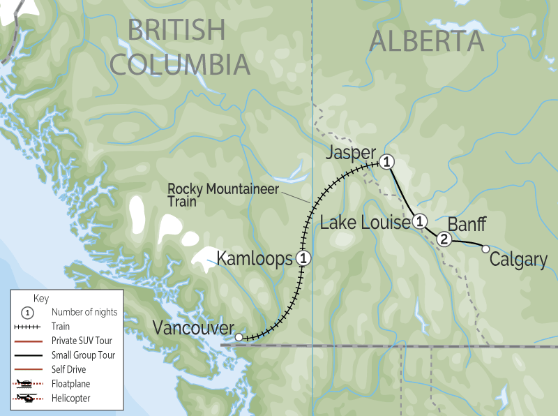 Jewels of the Canadian Rockies by Train | Rocky Mountaineer map