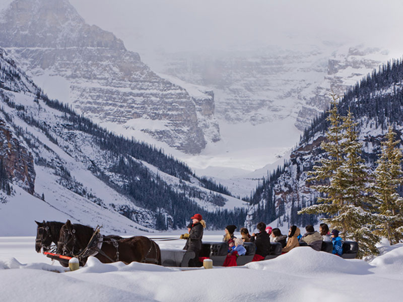 Luxury Winter Train Trip to the Canadian Rockies | Fairmont Chateau Lake Louise Sleigh Ride