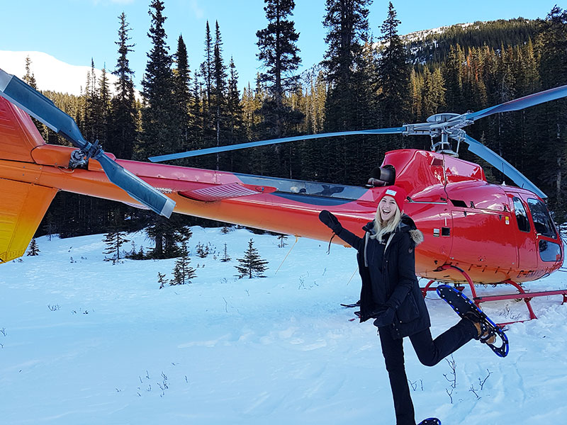 Luxury Winter Train Trip to the Canadian Rockies | Our Team on the Snowshoe Heli Tour