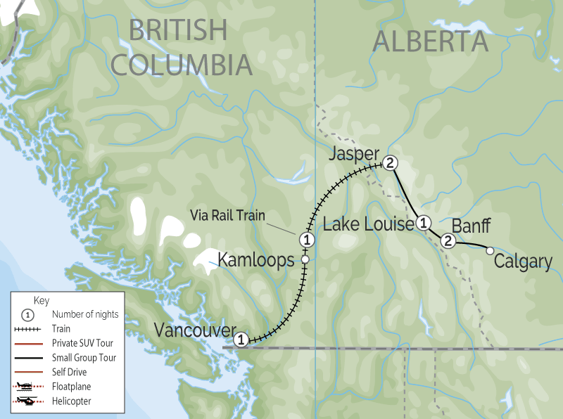 Luxury Winter Train Trip to the Canadian Rockies map