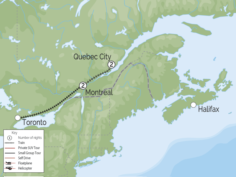 Montreal & Quebec Cities by Rail | Splendors of Eastern Canada map