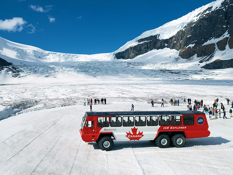 Circle Tour by Train through the Canadian Rockies | Ice Explorer ride onto Athabasca Glacier