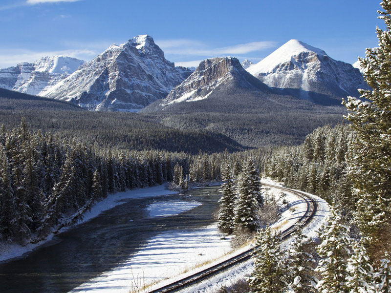 Winter Snow Train to the Canadian Rockies   Entering the Canadian Rockies
