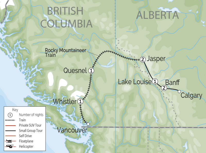 Whistler and the Canadian Rockies by Train  map