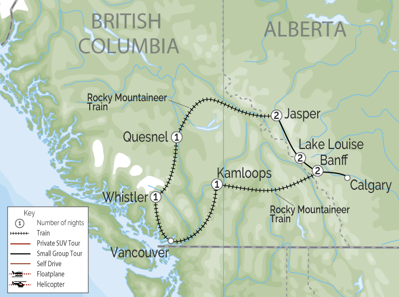 Whistler and the Canadian Rockies by Train Circle Tour map